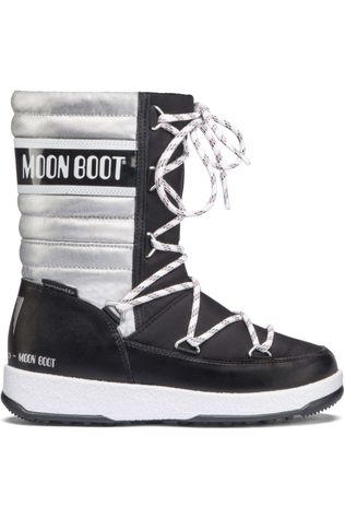Moon Boots Girls JR Quilted WP Boot BLACK/SILVER