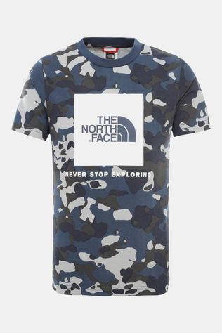 The North Face Youth Box SS Tee Blue Wing Teal/Ponderosa Print