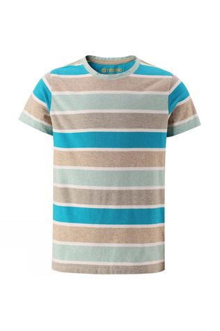 Reima Boys Salvia T-Shirt Teal/Oatmeal Stripe