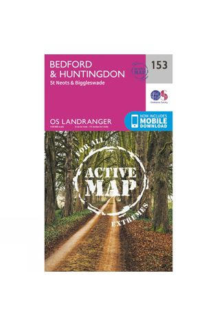 Ordnance Survey Active Landranger Map 153 Bedford and Huntingdon V16