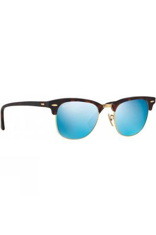 Ray Ban Clubmaster Sunglasses Sand Havana/ Gold/ Grey Mirror Blue