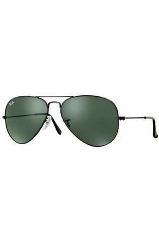 Ray Ban Aviator Sunglasses Black/ Grey Green
