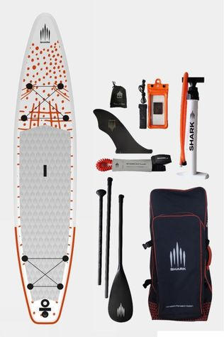 Shark 12'6 Touring iSUP Paddle Board Package White/Orange