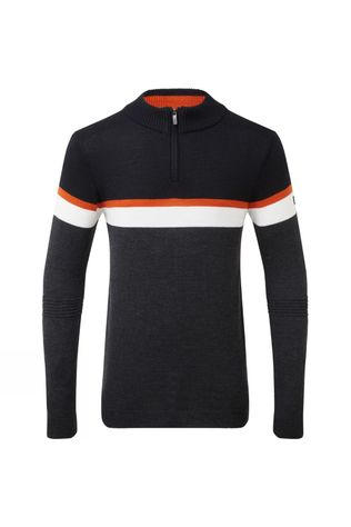 Henjl Mens Curtis Half-Zip Merino Sweater Black/Dark Grey/Orange/White