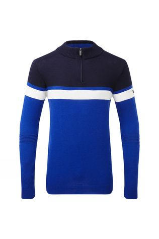 Henjl Mens Curtis Half-Zip Merino Sweater Sporty Blue/Navy/White