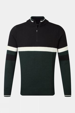 Henjl Men's Half Zip Merino Sweater Racing Green