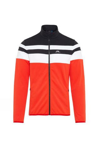 J.Lindeberg Mens Moffit Mid Jacket Racing Red/White/Navy