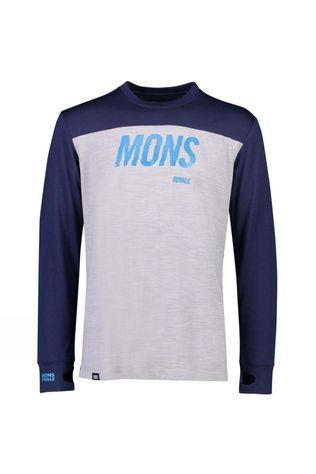 Mons Royale Mens Yotei Tech LS Crew Navy/Grey Marl
