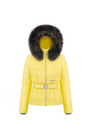 Poivre Blanc Womens Riva Faux Fur Jacket Empire Yellow