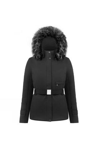 Poivre Blanc Womens Lauren Long Belted Faux Fur Jacket Black