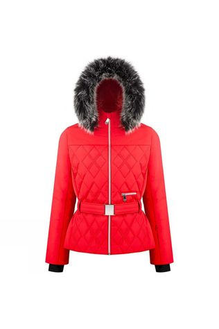 Poivre Blanc Womens Riva Faux Fur Jacket Scarlet Red3