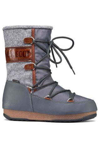 Moon Boots Womens Vienna Felt Boot Grey/Brown