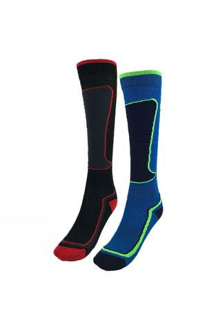 Snow and Rock Kids Active Zone Sock 2 Pack BLACK & BLUE