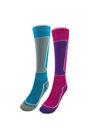 Snow and Rock Kids Active Zone Sock 2 Pack BRIGHT PINK & TURQUOISE