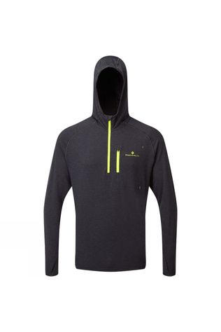 Ronhill Men's Life Workout Hoodie Charcoal Marl/Fluo Yellow