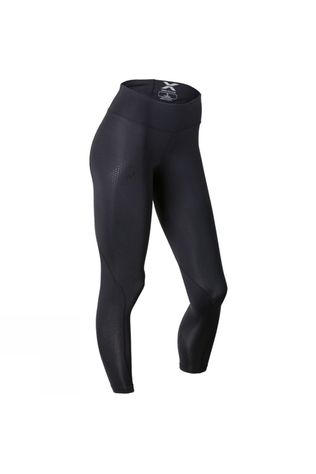 2XU Womens Mid-Rise Compression Tights Black/Dotted Black Logo