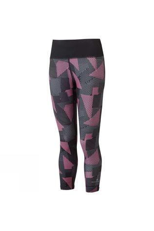 Ronhill Women's Life Crop Tight Black/HotPink Laser
