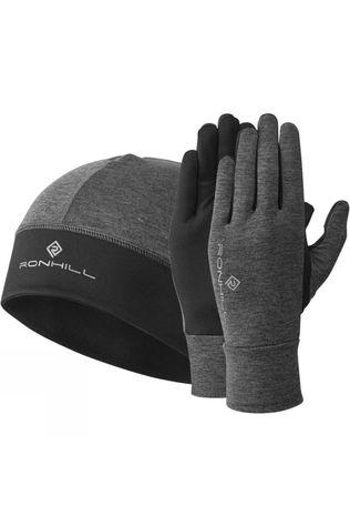 Ronhill Contour Beanie & Glove Set Grey Marl/Black
