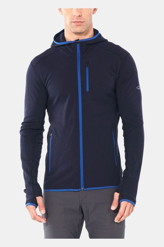 Icebreaker Mens Descender LS Zip Hood Midnight Navy