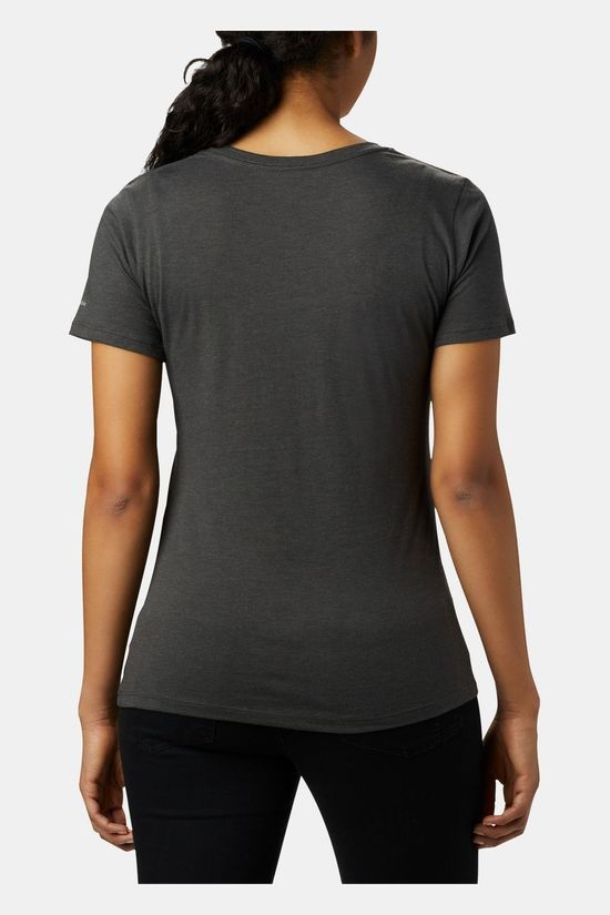 Columbia Womens Outer Bounds Short Sleeve Tee Charcoal Heather, Bearly