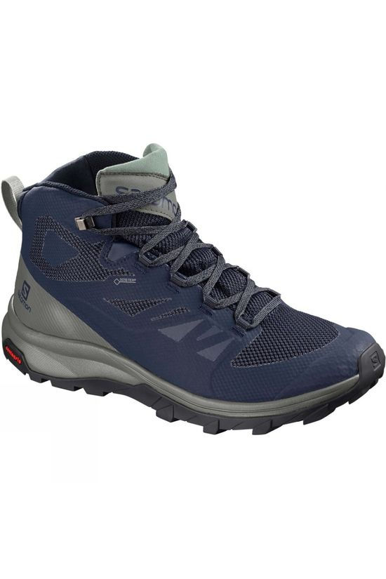 Salomon Mens Outline Mid GTX Boot Medieval Blue/Castor Grey/Green Milieu