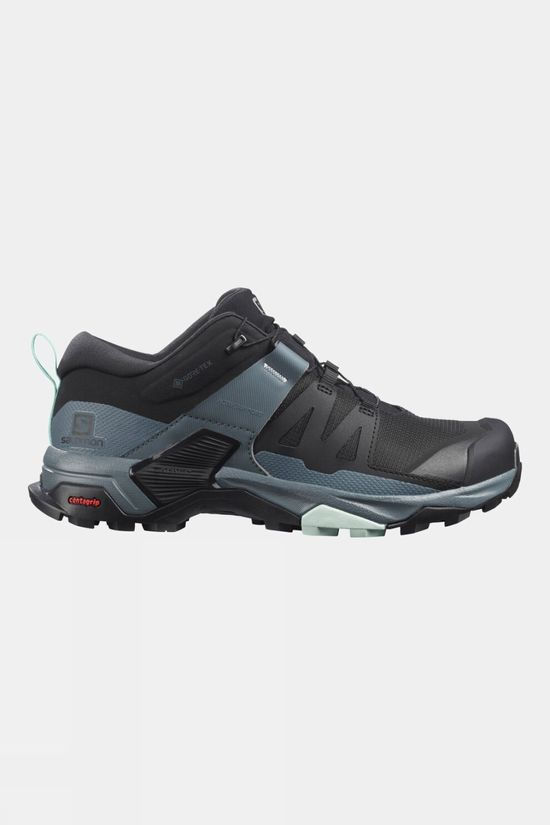 Salomon Womens X Ultra 4 GTX Shoe Black/Stormy Weather/Opal Blue