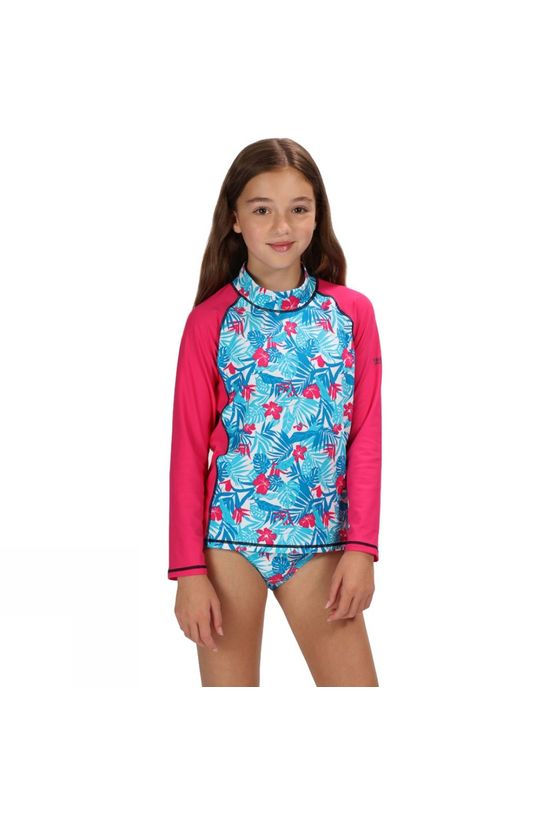 Regatta Kids Hobey LS Sun Protection Swimming Top Blue Tropical/Cabaret