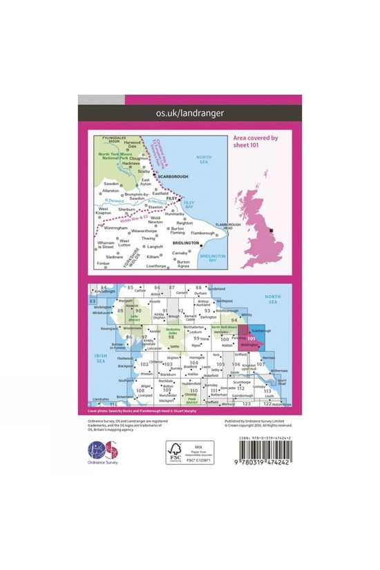 Ordnance Survey Active Landranger Map 101 Scarborough V16