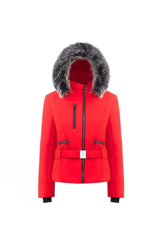 Poivre Blanc Womens Rebecca Faux Fur Jacket Scarlet Red3