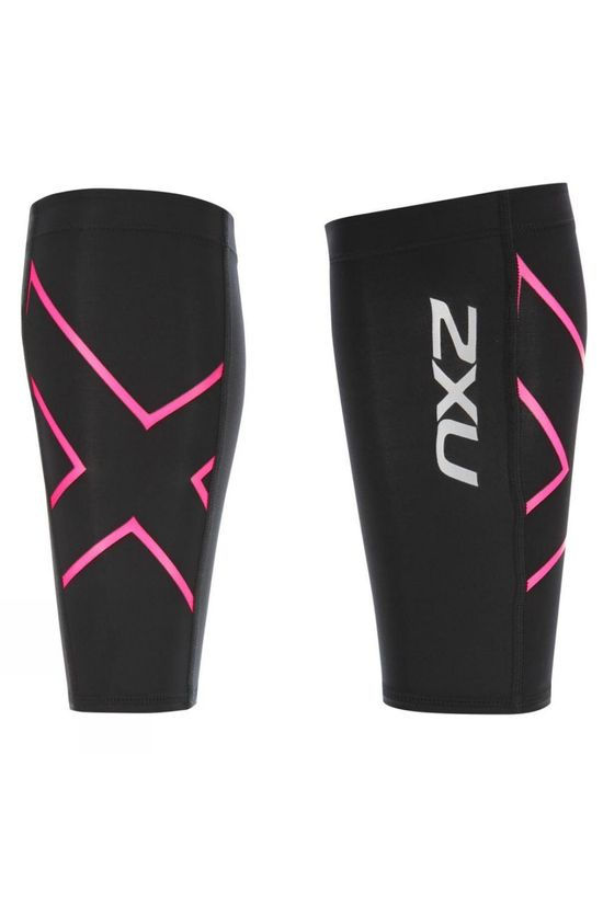 2XU Unisex Calf Guard Black/Pink Glow