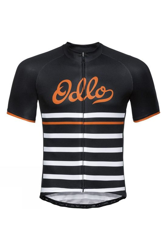 Odlo Mens Fujin Print Stand Up Collar Jersey Black - White - Retro