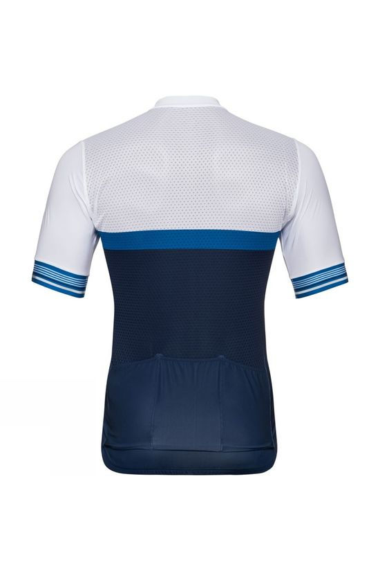 Odlo Mens Zeroweight Ceramicool Short-Sleeve Cycling Jersey White - Estate Blue
