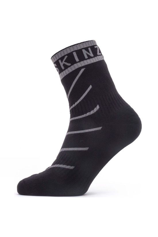 SealSkinz Mens Waterproof Warm Weather Ankle Length Sock with Hydrostop Black/Mid Grey