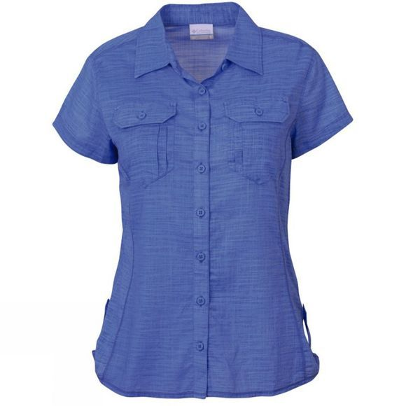 Columbia Women's Camp Henry Solid Short Sleeve Shirt Harbor Blue