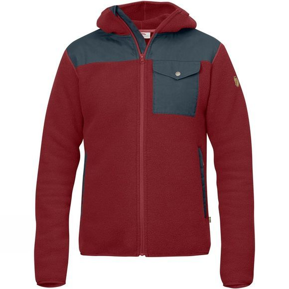 Fjallraven Mens Singi Fleece Hoodie Red Oak/Graphite