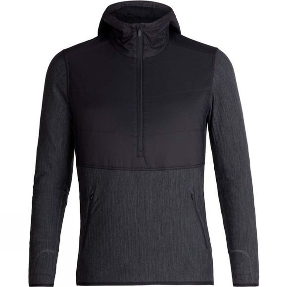 Icebreaker Mens Descender Hybrid LS Half Zip Hood Black/Jet Heather