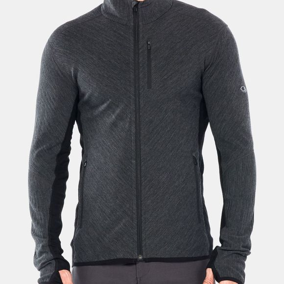 Icebreaker Mens Descender LS Zip Top Jet Heather/Black