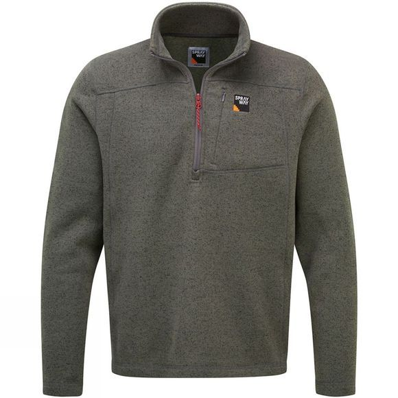 Sprayway Mens Minos Half Zip Fleece Chrome/Aztec Trim