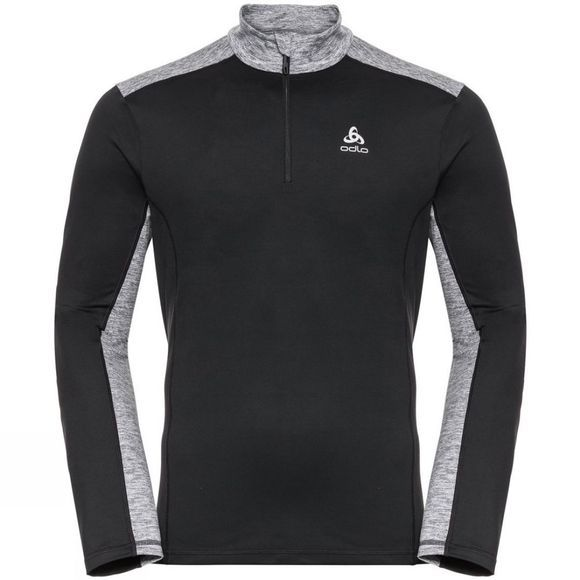 Odlo Mens Steeze 1/2 Zip Midlayer Black - Grey Melange