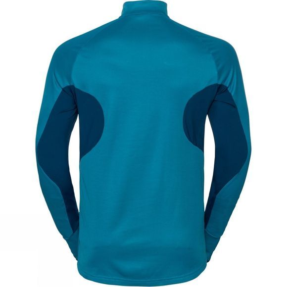 Odlo Mens Blaze Ceramiwarm 1/2 Zip Midlayer Poseidon - Blue Jewel - Stripes