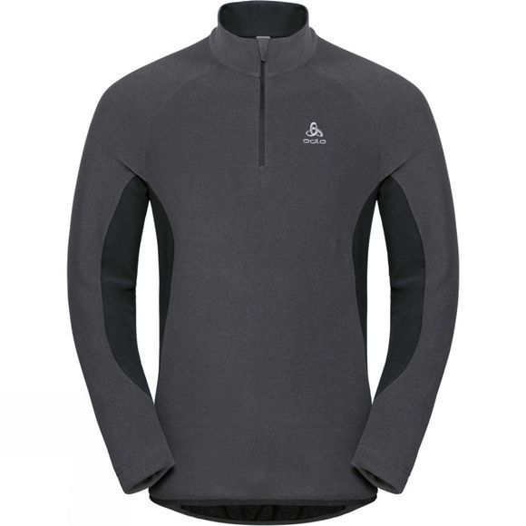 Odlo Mens Royale 1/2 Zip Midlayer Shale Grey - Black Stripes