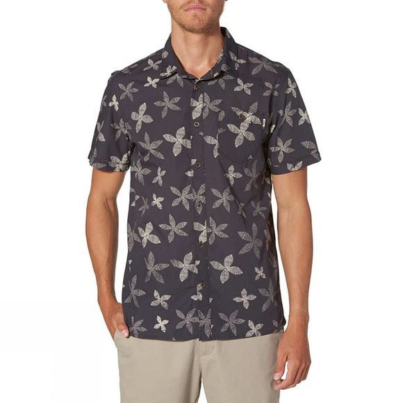 Reef Mens Retro Short Sleeve Shirt Black