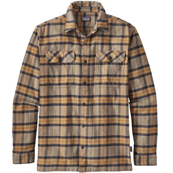 Patagonia Mens Long-Sleeved Fjord Flannel Shirt MIGRATION PLAID: MOJAVE KHAKI