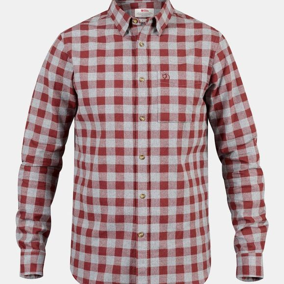 Fjallraven Mens Övik Check Long Sleeve Shirt Red Oak