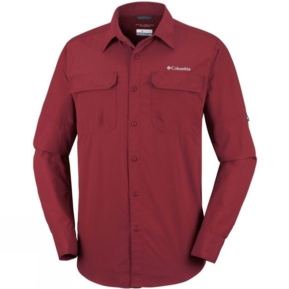Columbia Mens Silver Ridge II Long Sleeve Shirt Red Element