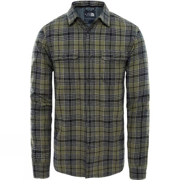 The North Face Mens Long Sleeve Arroyo Flannel Shirt Four Leaf Clover Larkspur Plaid