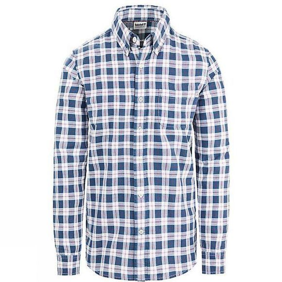 Timberland Mens Long Sleeve Pocket Med Plaid Shirt Pomegranate