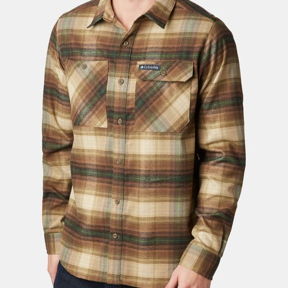 Columbia Mens Outdoor Elements Stretch Flannel Olive Brown Plaid
