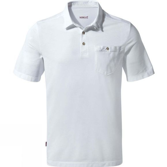 Craghoppers Mens NosiLife Gilles Short Sleeve Polo Optic White