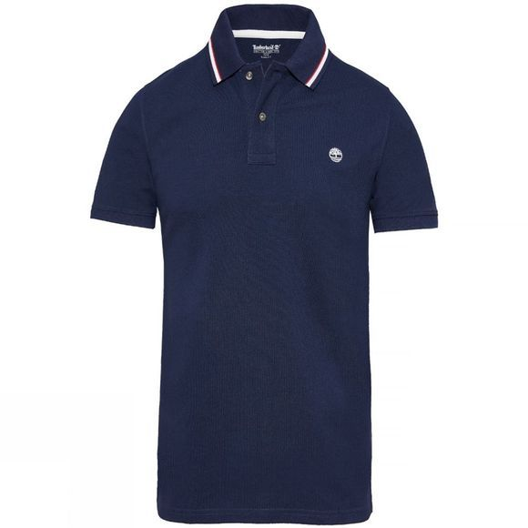 Mens SS Millers River Pique Triped Polo Shirt - Slim